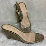 Jessica Simpson Shoes | Jessica Simpson Womens Size 9 Wedge Sandal Gold Clear Lucite Upper | Color: Gold/White | Size: 9