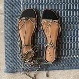 Madewell Shoes | Madewell Katya Braided Lace Up Flat Sandal | Color: Black/White | Size: 6.5