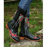 PAOTMBU Women's Western Boots BLACK - Black & Red Floral Embroidered Cowboy Boot - Women