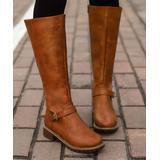 NANIYA Women's Casual boots YELLOW - Yellow Buckle-Accent Dual-Zip Knee-High Boot - Women