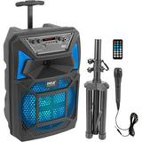 """Pyle Pro PPHP82SM 8"""" 2-Way 400W Portable Bluetooth PA Speaker with Light Show, Micro PPHP82SM"""