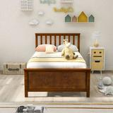 TIFONE Twin Size Wood Platform Bed w/ Headboard & Footboard Wood Slat Support Platform Mattress Foundation For Bedroom No Box Spring Needed Wood
