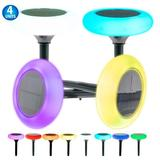 5 Star Super Deals Solar Powered Rgb Color Circular Disc Led Pathway Lights - Color Changing Disk Ground Lights in White | Wayfair 4039236