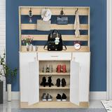 Ebern Designs 6 Pair Stackable Shoe Storage Cabinet Manufactured Wood in Yellow, Size 69.68 H x 47.63 W x 11.81 D in | Wayfair