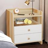 Latitude Run® Modern Bedside Table, Nightstand w/ 2 Drawers & Storage Open Shelves (white) Wood in Brown, Size 21.65 H x 19.68 W x 15.75 D in