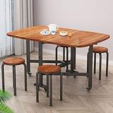 17 Stories Multifunction Dining Table Farmhouse Kitchen Table For 6 People Foldable In Three Forms Wood Dining Room Table Wood/Metal in Brown