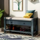 Longshore Tides Modern Shoe Storage Bench, Wood Shoe Rack w/ Cushioned Seat & Drawers Solid Wood in Blue, Size 19.8 H x 35.4 W x 14.0 D in | Wayfair
