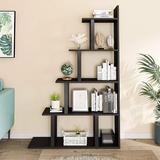 Latitude Run® Ladder Bookshelf, 5-Tier Wood Corner Bookshelf, Rustic Ladder Shelf For Living Room, Bedroom, Home Office, Rustic Brown in Black