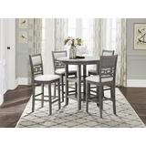 Winston Porter Classical Charming 5 Piece Dinette Sets w/ 1 Round Table & 4 Chairs Wood/Upholstered Chairs in Black, Size 36.5 H in   Wayfair