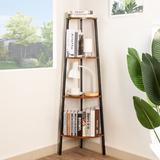 17 Stories Corner Shelf Stand Kitchen Plant Ladder 4 Tier Standing Shelving Unit Rustic Display Storage Shelves Book Shelf Organizer For Bedroom