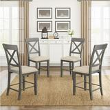 Gracie Oaks Wood 4-Piece Counter Height Dining Upholstered Chairs, Color +Beige Cushion in Gray, Size 39.4 H x 17.3 W x 17.0 D in   Wayfair