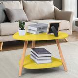 Corrigan Studio® 3 Legs Coffee Table w/ Open Shelf Wood in Yellow, Size 16.5 H x 23.6 W x 23.6 D in | Wayfair 788653C8CD1049AF85051CDF3501D748