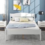 Red Barrel Studio® Platform Bed w/ Horizontal Strip Hollow Shape Headboard & Foot-Board & Center Support Feet Wood in White   Wayfair