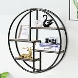 17 Stories Hanging Storage Shelf Circular Wall-Mounted 4-Tier Rack in Black, Size 22.0 H x 22.0 W x 5.0 D in | Wayfair