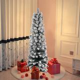 """The Holiday Aisle® 4FT/5FT Slim Christmas Tree Artificial Snow Flocked Undecorated Xmas Tree w/ Jute Base in Gray/White, Size 47.20"""" H 