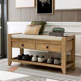 Longshore Tides Modern Shoe Storage Bench, Wood Shoe Rack w/ Cushioned Seat & Drawers Solid Wood in Brown | Wayfair