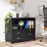 XDYZ File Cabinet w/ 3 Drawers & Lock in Black, Size 25.98 H x 31.5 W x 15.75 D in   Wayfair HL-F1441-WF