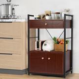 Latitude Run® Kitchen Baker's Rack Storage Cabinet Microwave Oven Stand Kitchen Storage Shelf Wood in Brown, Size 36.6 H x 23.6 W x 15.7 D in