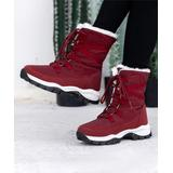 Pattrily Women's Cold Weather Boots Red - Red Faux Fur-Lined Winter Boot - Women