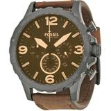 Nate Chronograph Brown Dial Brown Leather Watch - Brown - Fossil Watches