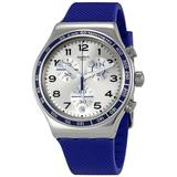 Frescoazul Silver Dial Chronograph Silicone Watch - Metallic - Swatch Watches
