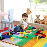 PicassoTiles Race Track Set in White/Yellow, Size 4.25 H x 12.0 W x 5.0 D in   Wayfair PTR50
