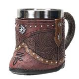Union Rustic Western Cowboy Boot Red Embellished Faux Leather Stainless Steel 8fl Oz Resin Mug in Brown, Size 4.5 H in   Wayfair