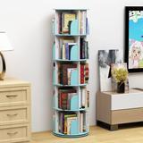 Latitude Run® 5 Tier 360° Rotating Stackable Shelves Bookshelf Organizer Plastic in Blue, Size 18.1 W x 18.1 D in   Wayfair