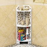 Winston Porter Multi-Tier Wood Plastic Bathroom Storage Corner Shelf Rack Organizer in White, Size 31.5 H x 8.3 W x 8.3 D in   Wayfair