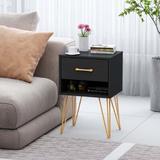"Corrigan Studio® 15.7""W Nightstand w/ 1 Drawer & 1 Shelf,Triangular Metal Foot Wood in Black, Size 23.6 H x 15.7 W x 11.8 D in   Wayfair"