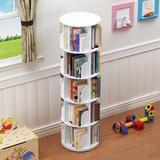 Latitude Run® 5 Tier 360° Rotating Stackable Shelves Bookshelf Organizer Plastic in White, Size 18.1 W x 18.1 D in   Wayfair
