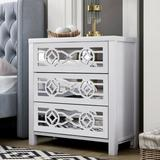 Red Barrel Studio® Trexm Wooden Storage Cabinet w/ 3 Drawers & Decorative Mirror, Natural Wood (antique White), Size 30.71 H x 28.35 W x 14.96 D in