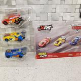Disney Toys | Disney Pixar Cars Xrs Drag Racing Vehicle 3-Pack Die Cast Cars | Color: Red/Yellow | Size: Osbb