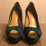Nine West Shoes | Nine West Peep Toe Pumps - Size 6 (Bluegreen Suede) | Color: Blue/Green | Size: 6