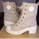 Michael Kors Shoes   Combat Block Heel Boots   Color: Cream/White   Size: 9.5
