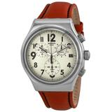 Leblon Chronograph Beige Dial Brown Leather Watch - Brown - Swatch Watches