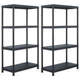 "vidaXL Storage Shelf Racks 2 pcs Black 23.6""x11.8""x54.3"" Plastic"
