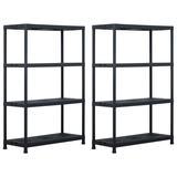 "vidaXL Storage Shelf Racks 2 pcs Black 485 lb 35.4""x15.7""x54.3"" Plastic"
