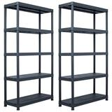 "vidaXL Storage Shelf Racks 2 pcs Black 551.2 lb 31.5""x15.7""x70.9"" Plastic"
