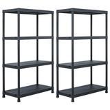 "vidaXL Storage Shelf Racks 2 pcs Black 440.9 lb 31.5""x15.7""x54.3"" Plastic"
