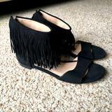 J. Crew Shoes | Nwob Paul Andrew X J. Crew Fringe Flat Sandals | Color: Black | Size: 6