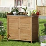 Americans Outdoor Solid Wood Storage Cabinet Storage Shed w/ 2-Door, Size 37.4 H x 38.5 W x 18.5 D in   Wayfair TUT-WS120421-01