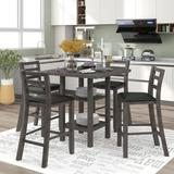 Red Barrel Studio® 5-piece Wooden Counter Height Dining Set, Square Dining Table w/ 2-tier Storage Shelving & 4 Padded Chairs, Gray in Black/Gray