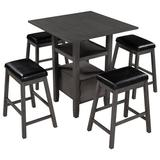 Winston Porter 5 Pieces Counter Height Wood Kitchen Dining Table Set w/ 4 Upholstered Stools, dining Table w/ Storage Cupboard & Shelf, Brown in Gray