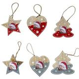The Holiday Aisle® 6 Pieces Hanging Wooden Picture Ornaments Christmas Photo Ornament Frames Christmas Tree Ornaments For Holiday Picture Frame Presents