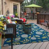 Andover Mills™ Annice Floral Blue Indoor/Outdoor Area Rug Polypropylene in Blue/Brown, Size 29.0 W x 0.16 D in | Wayfair