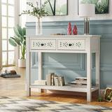 Longshore Tides Console Table w/ Hollow-Out Decoration & 2 Drawers & 1 Open Shelf,Silver Wood in White, Size 30.0 H x 35.4 W x 13.8 D in   Wayfair