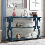 """One Allium Way® Console Table Side Cabinet w/ 3-Layer Open Storage Shelf 48""""X 19""""X 30.5""""Inches Wood in Gray, Size 30.5 H x 48.0 W x 19.0 D in"""