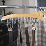 Rebrilliant Homewares Wooden Belt Hanger For Closet - Mens Belts Organizer Rack- Natural Finish & Chrome Accents- Display Holder w/ Hooks, 95532