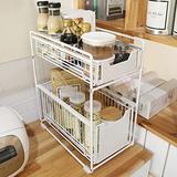 Rebrilliant Stackable 2-Tie Under Sink Cabinets Organizer w/ Sliding Storage Drawer, Pull Out Cabinets Organizer Shelf | Wayfair